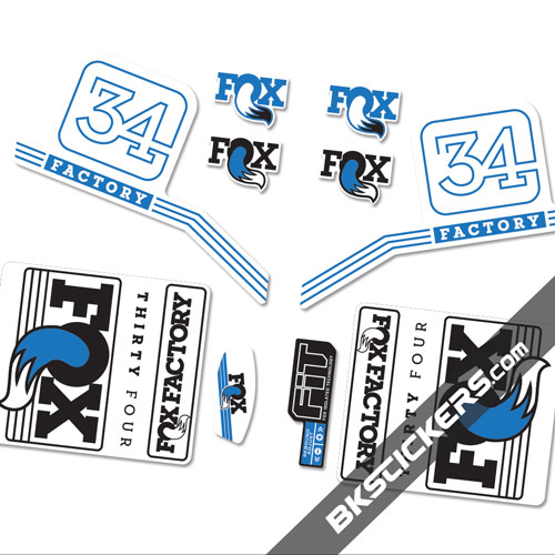 Fox Factory 34 2016 stickers kit White Forks - blue - bkstickers.com