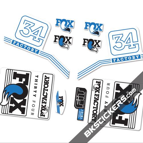 Fox Factory 34 2016 stickers kit White Forks - blue - bkstickers.com
