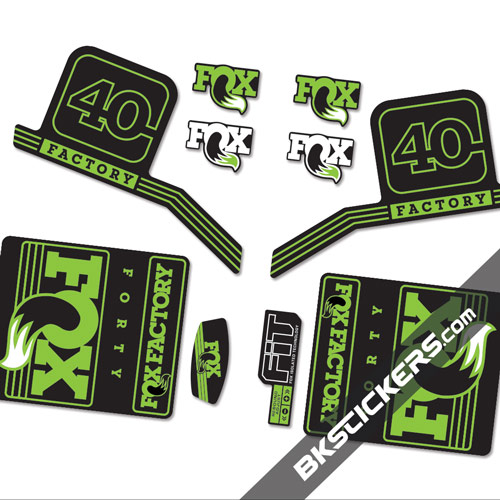 Fox Factory 40 2016 stickers kit Black Forks green