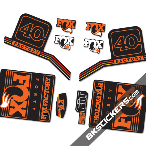 Fox Factory 40 2016 stickers kit Black Forks - orange - Bkstickers.com