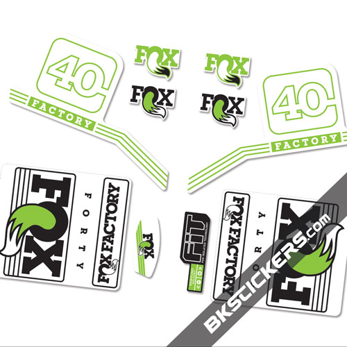 Fox Factory 40 2016 stickers kit White Forks - green