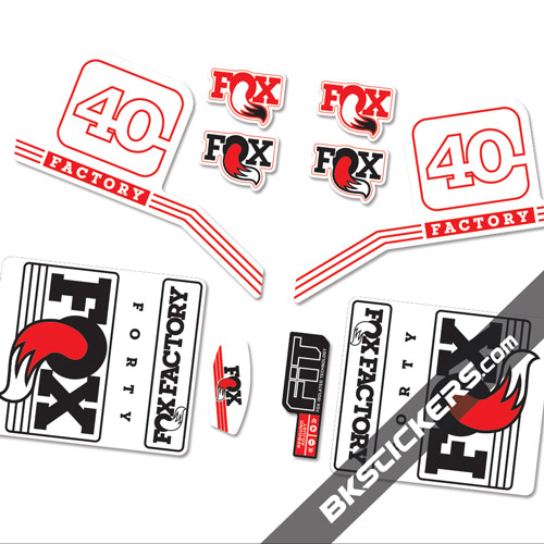 Fox Factory 40 2016 stickers kit Black Forks - Red - Bkstickers.com