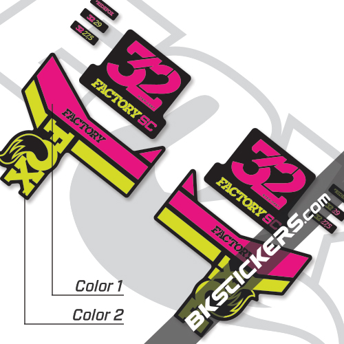 Fox 32 SC Factory Series Decals Kit Black Forks - bkstickers.com