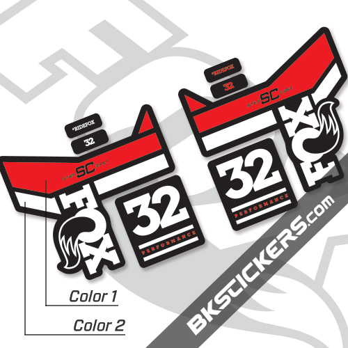Step Cast Decal Kit Sticker//Decal FOX Decal Kit for 32 Step-Cast Forks Red