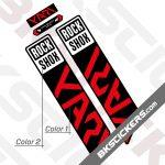 Rockshox Yari 2021 Black Fork Decals kit - Red