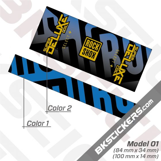Rockshox Super Deluxe Coil Select Plus 2021 Horizontal Rear Shox Decals kit