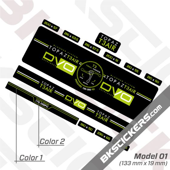 DVO Topaz T3 Air 2016 Rear Shock Decal kit 02