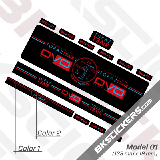 DVO Topaz T3 Air 2016 Rear Shock Decal kit 03