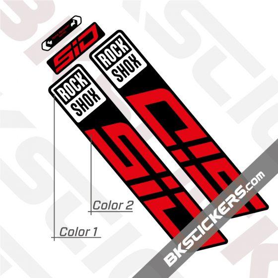 Rockshox-SID-2022-Black-Fork-Decals-kit-red