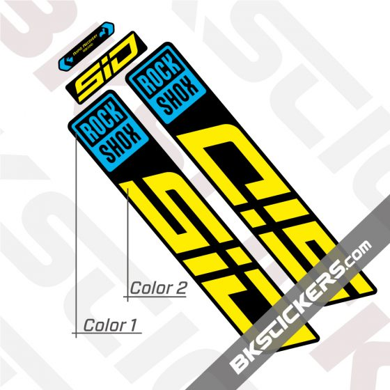 Rockshox-SID-2022-Black-Fork-Decals-kit-yellow